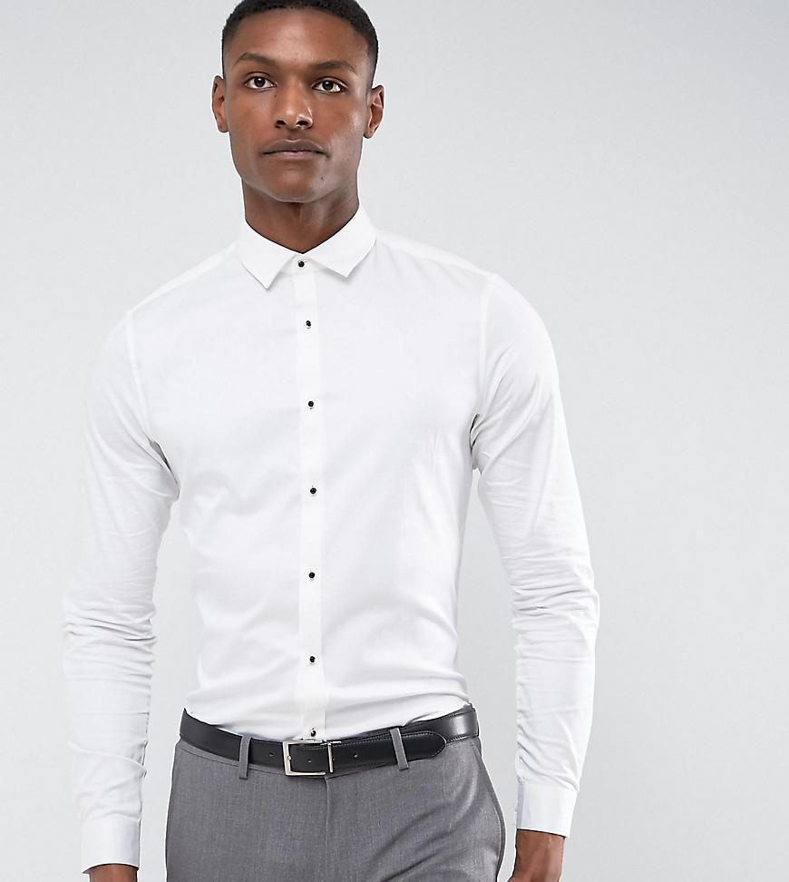 Lyst asos tall slim fit sateen shirt with ruby stud in for Slim fit tall shirts