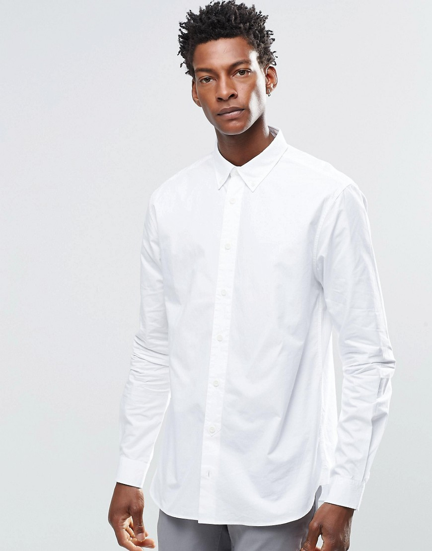 Lyst ymc button down collar shirt in white for men for White shirt with collar pin