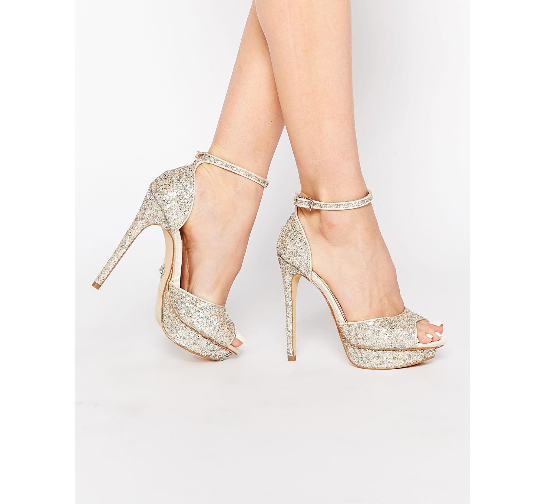 1daba3e24ed9 Lyst - Lipsy Molly Silver Glitter Platform Heeled Sandals in Metallic