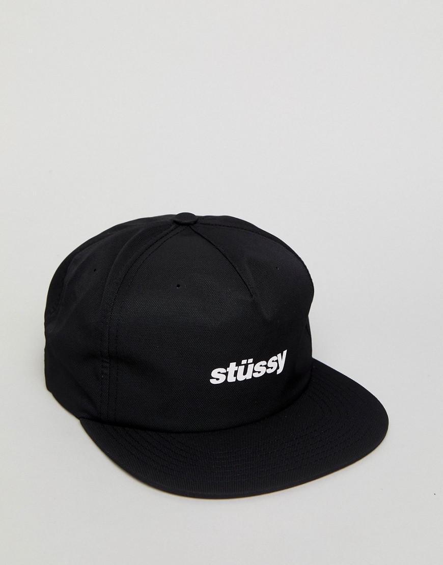 6586820ff57 Stussy Poly Doby Snapback Cap in Black for Men - Lyst