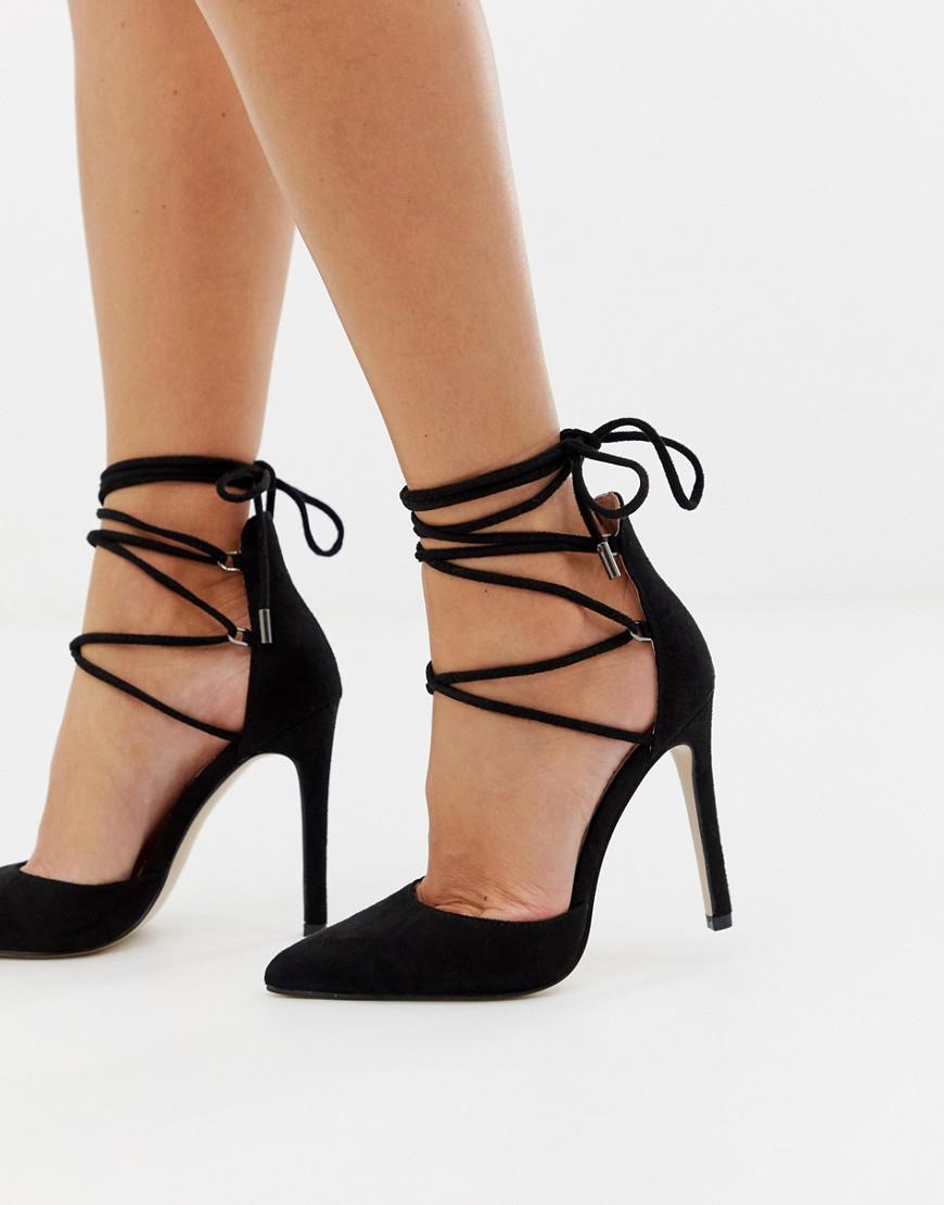 d1df109a76cc Lyst - Public Desire Classy Black Tie Up Heeled Shoes in Black