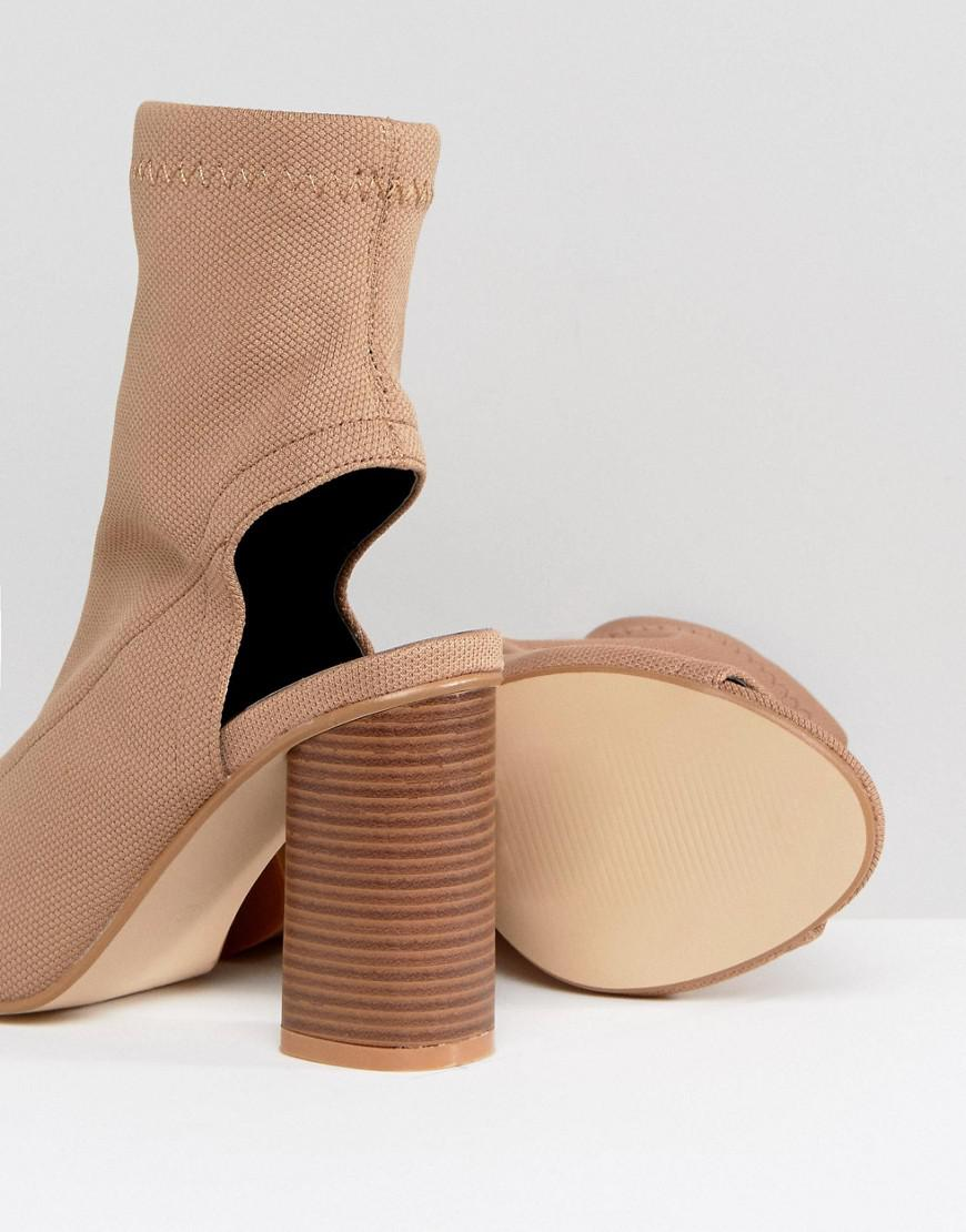 Truffle Collection Wide Fit Peep Toe Heeled Shoe Boot in Beige (Natural)