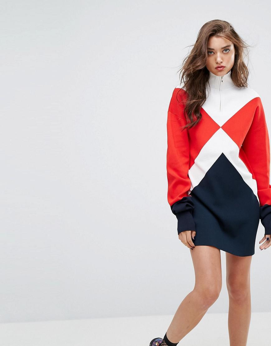 d939526e254 Tommy Hilfiger Gigi Hadid Argyle High Neck Knitted Dress - Lyst