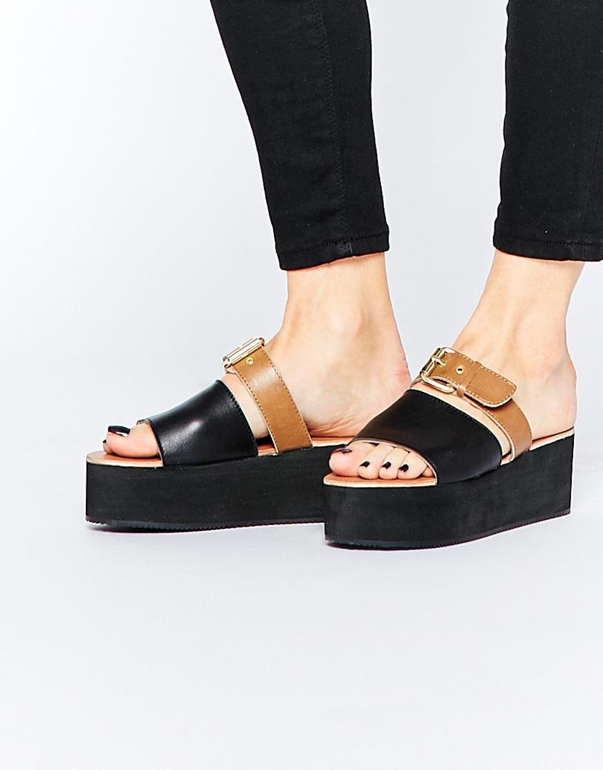 d907e8b2298 Lyst - Park Lane Slide Buckle Leather Flatform Sandals in Brown