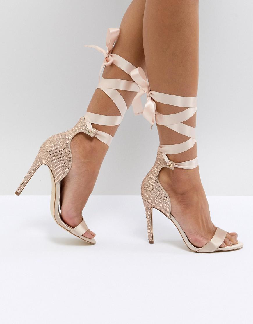 681e61f7d48 ALDO Mirilian Glitter Satin Tie Ankle Strap Shoe in Metallic - Lyst