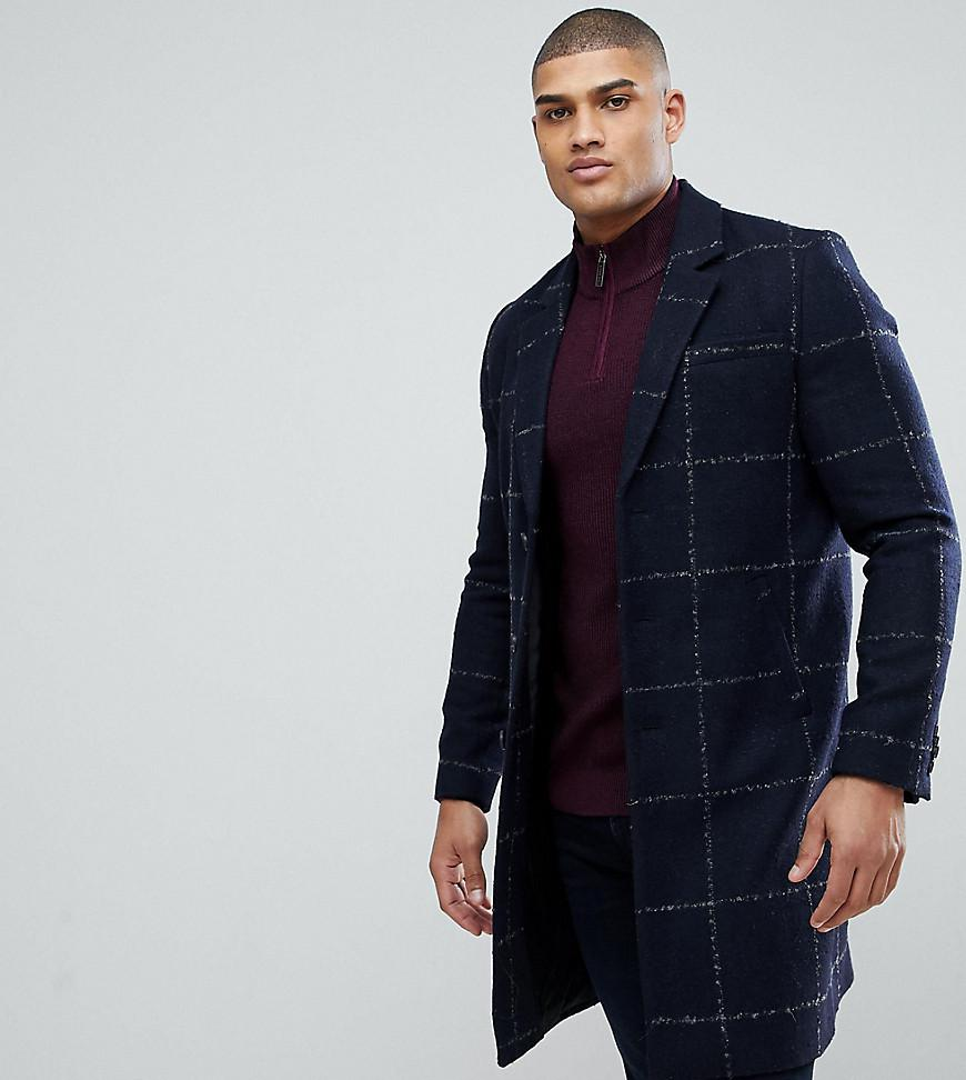 Asos Tall Checked Wool Mix Overcoat In Navy In Blue For