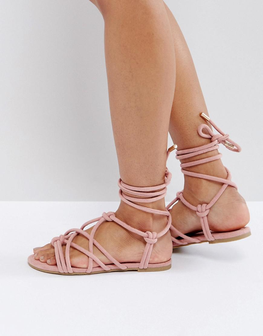 FACTOR Tie Leg Flat Sandals - Pink Asos q8R2gH
