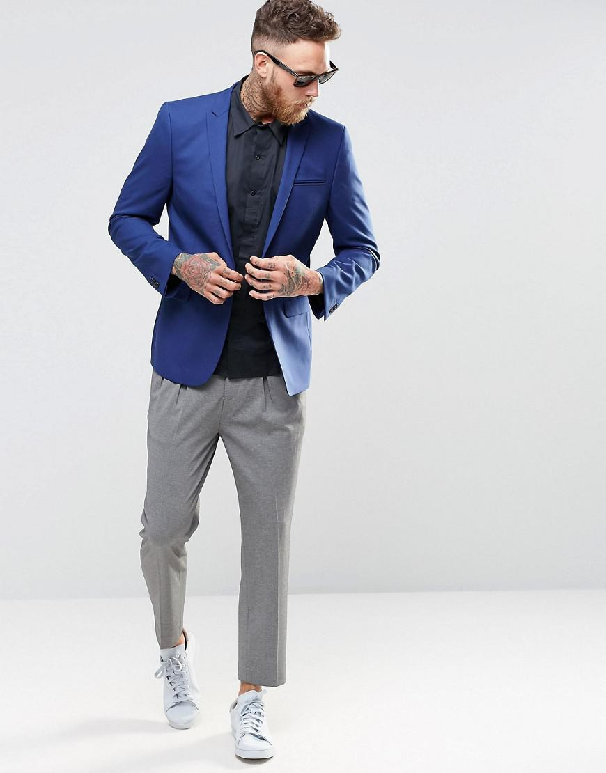 ASOS Synthetic Skinny Fit Suit Jacket In Royal Blue for Men