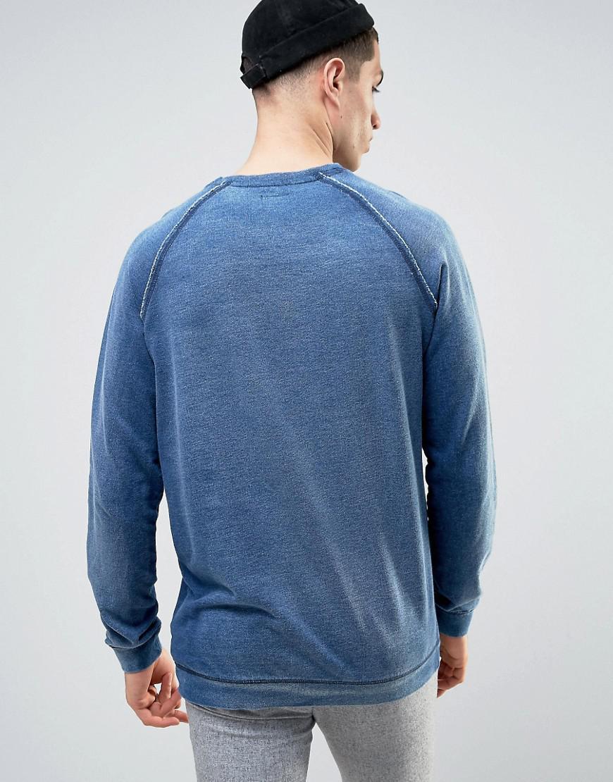 Solid Sweatshirt In Washed Denim Look in Navy (Blue) for Men