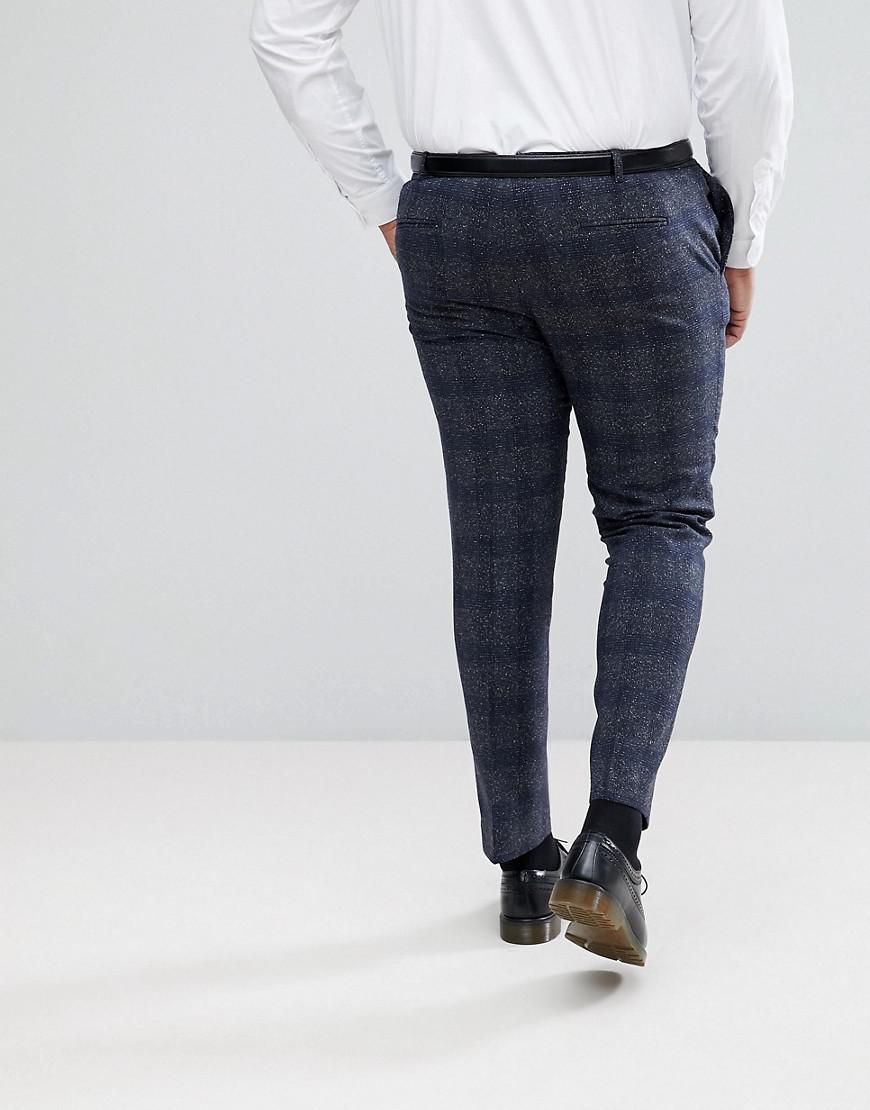 ab0e14f4001 Lyst - Heart   Dagger Plus Size Skinny Suit Pants In Fleck Grid in Gray for  Men