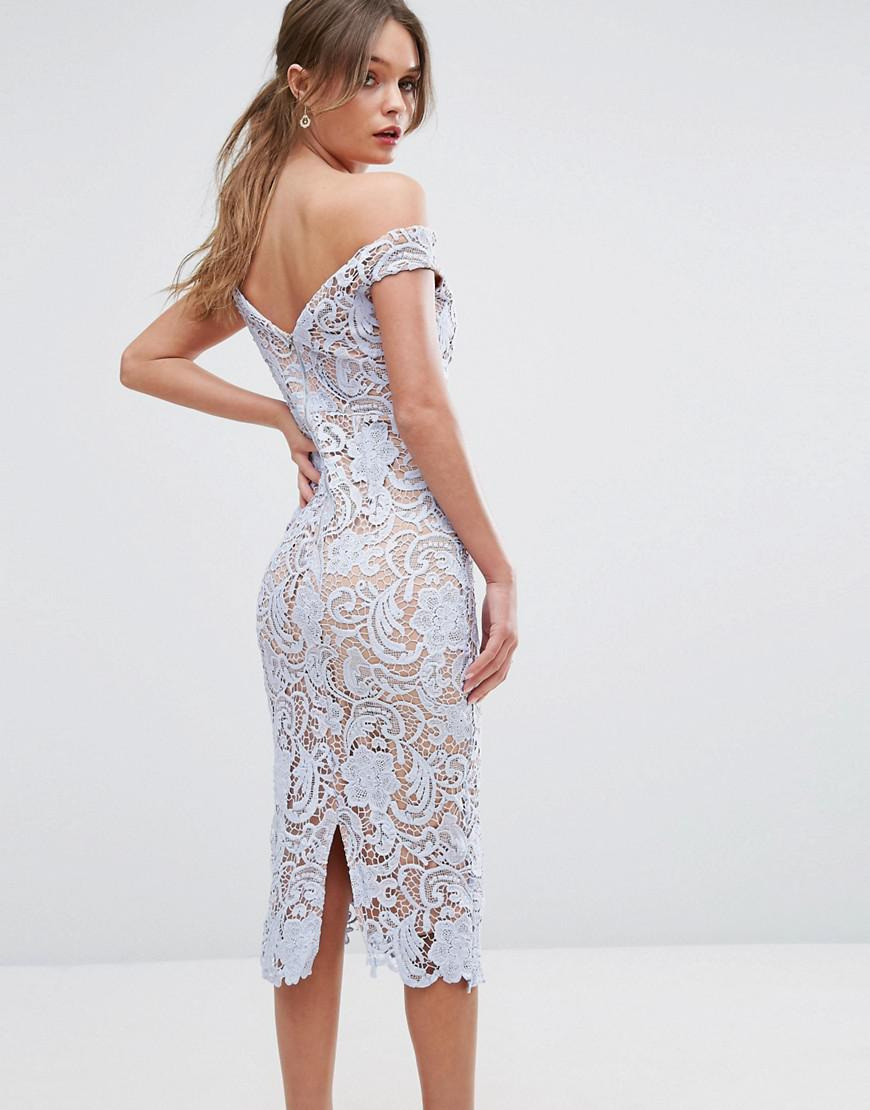 Boohoo Lace Off The Shoulder Midi Pencil Dress In Blue Lyst