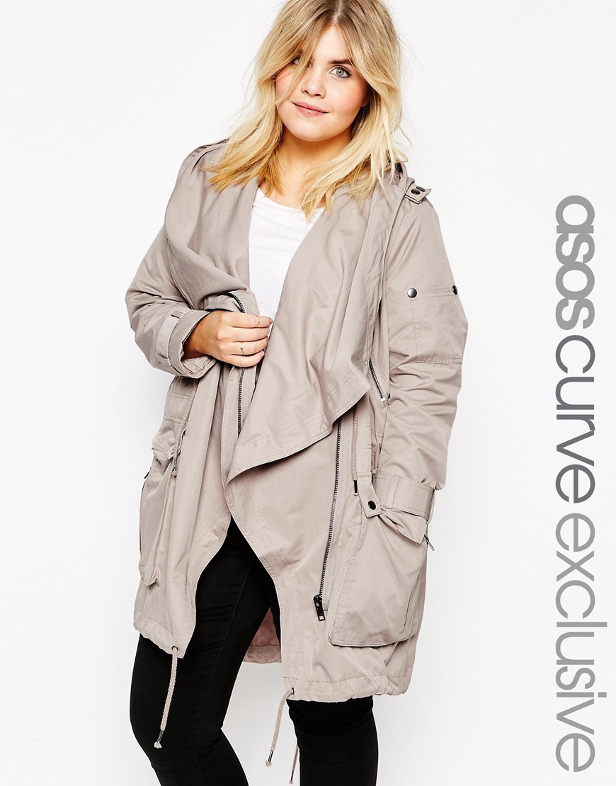 89195b580496b ASOS Parka With Waterfall And Storm Flap in Gray - Lyst