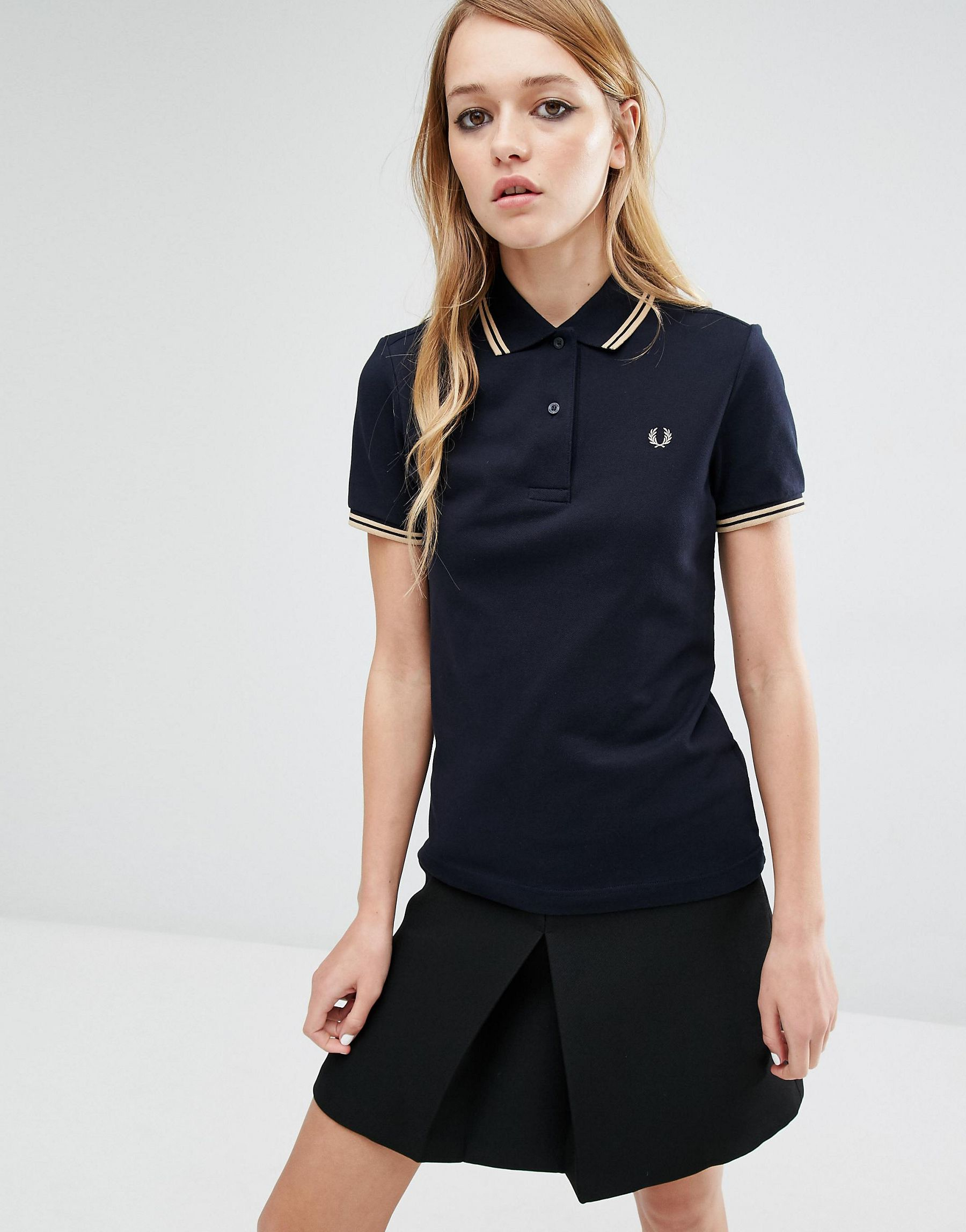 lyst fred perry twin tip polo shirt in black. Black Bedroom Furniture Sets. Home Design Ideas
