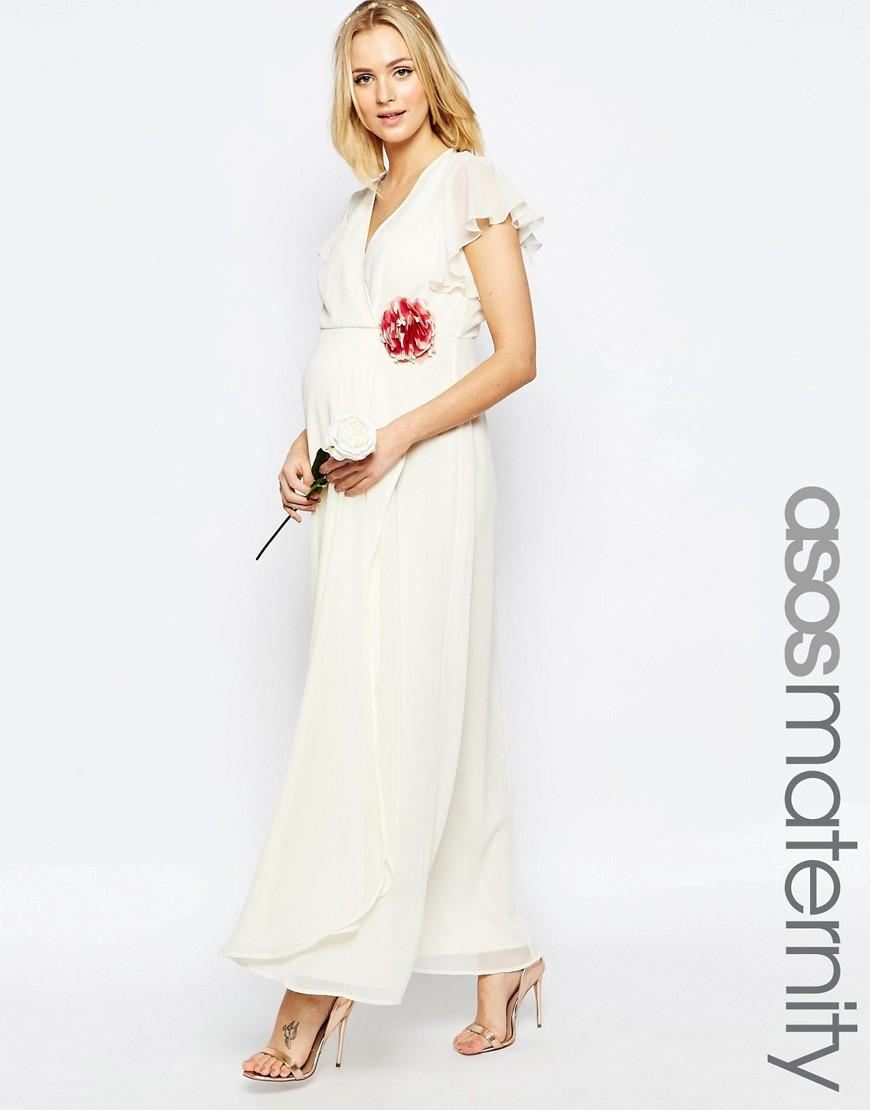 Asos maternity wedding wrap maxi dress with corsage detail for Maxi maternity dresses for weddings