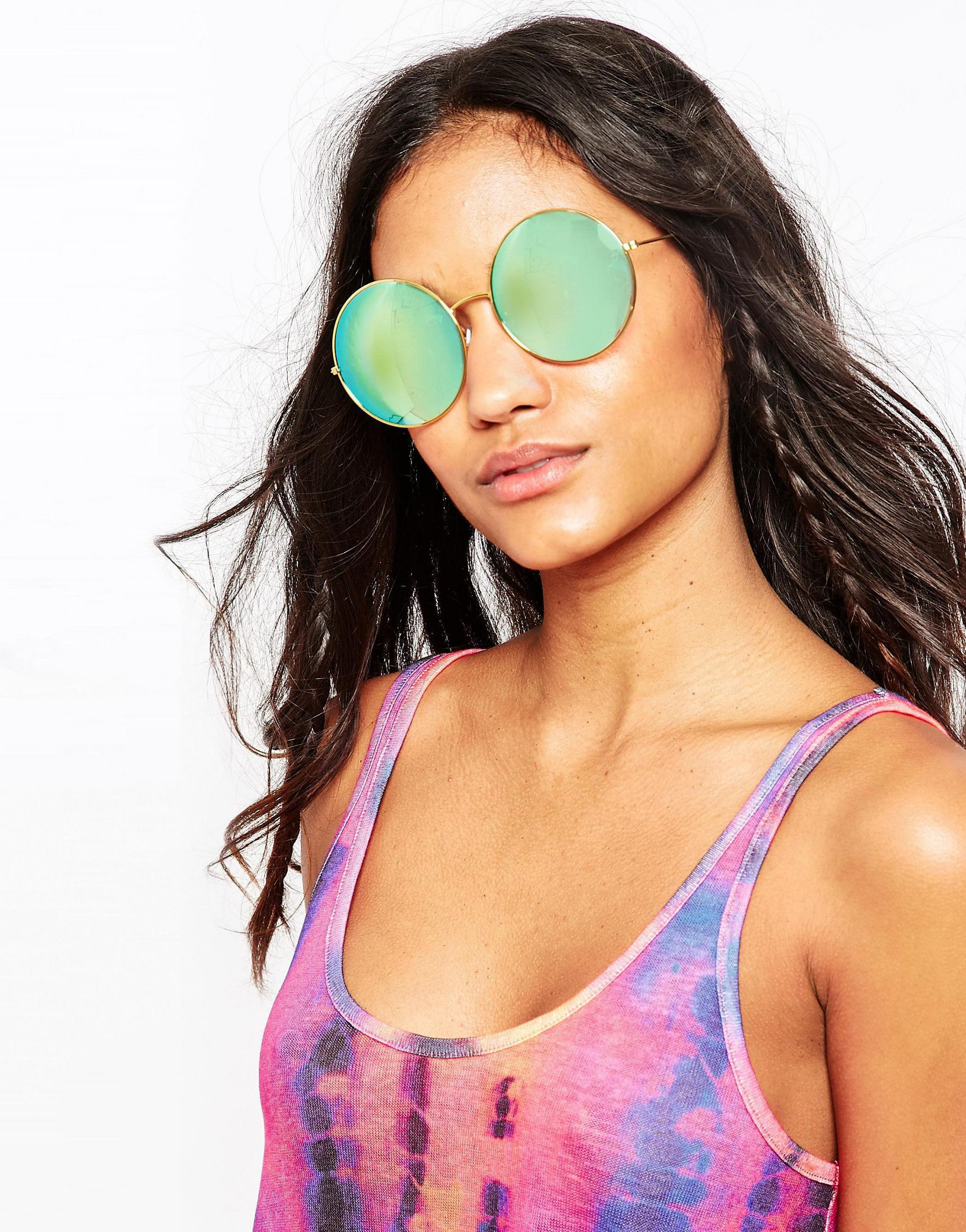 9dc5d1d50d0 Lyst - ASOS Oversized Metal Round Sunglasses With Blue Flash Lens in Green