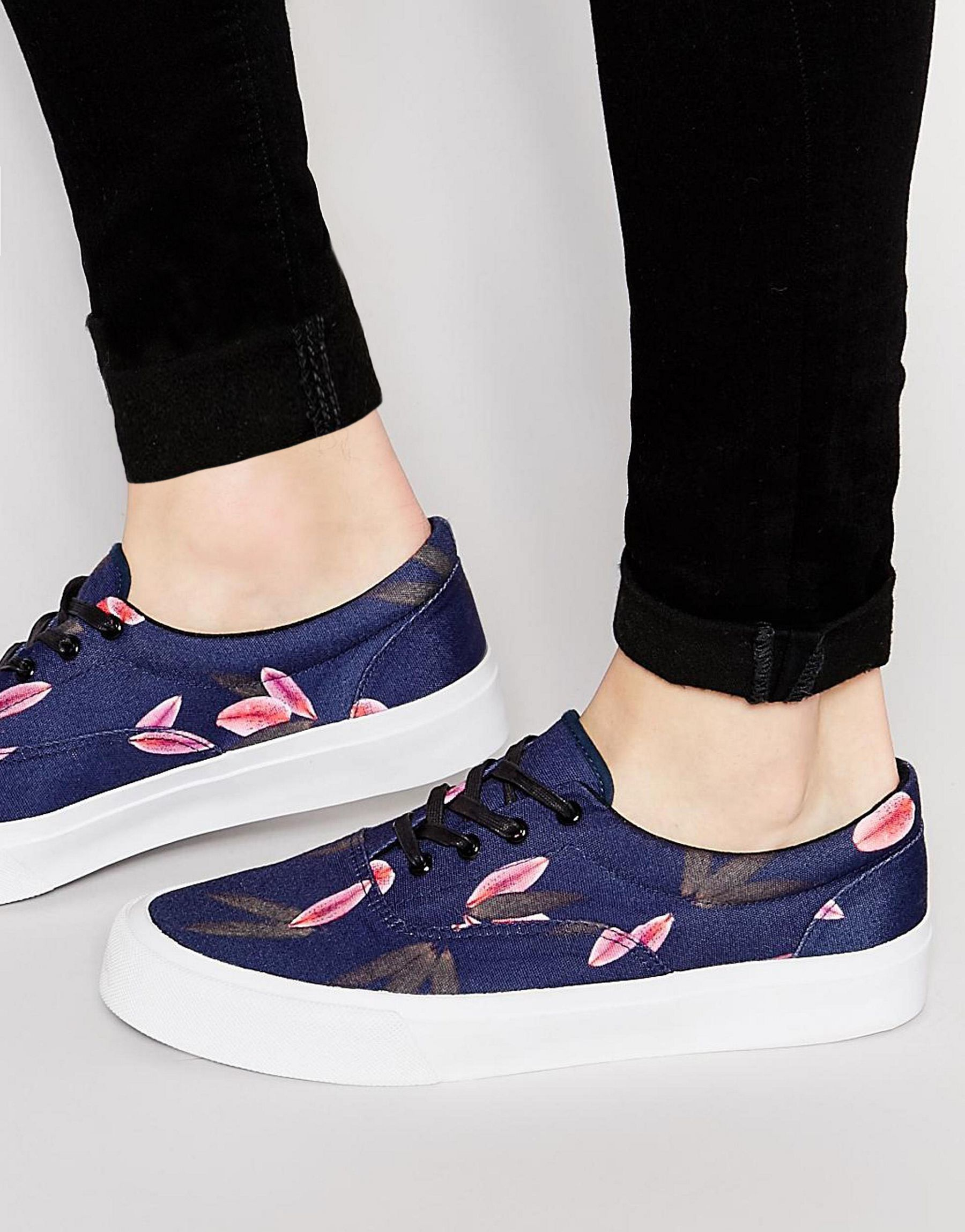 asos lace up plimsolls in floral print canvas in orange lyst