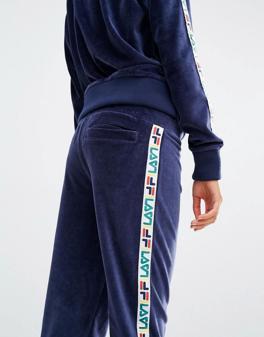 bästa webbplats konkurrenskraftigt pris till salu Fila Cotton Tracksuit Bottoms With Tape Detail In Velour in Navy ...