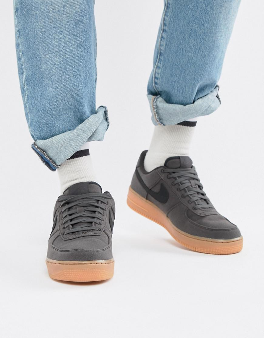 d0c75e926628 Nike Air Force 1  07 Style Trainers With Gumsole In Black Aq0117-002 ...
