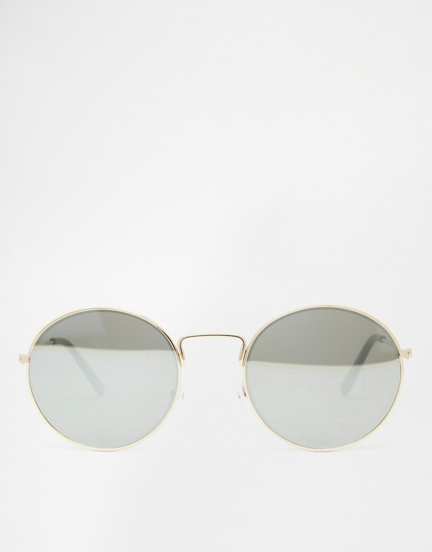 ASOS Round Metal Sunglasses With Fine Frame With Flat Lens in Gold (Grey)