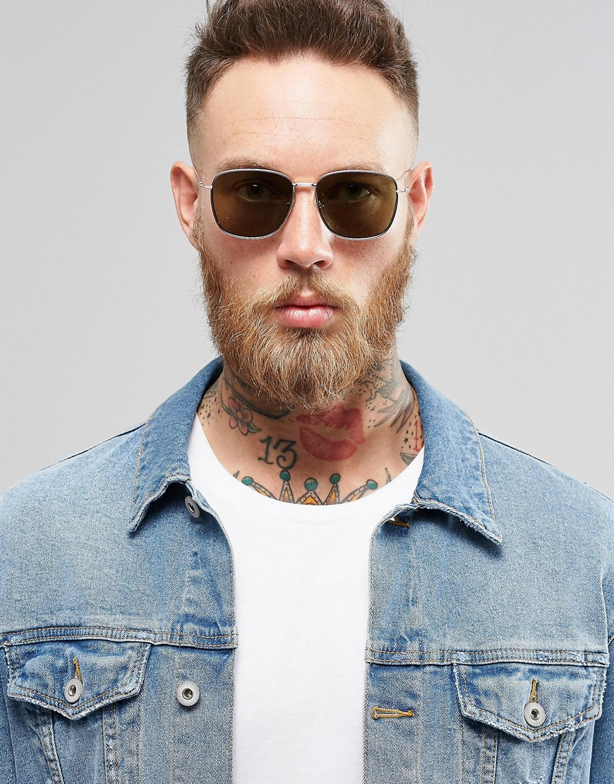 ASOS Square Sunglasses With Flat Mirrored Lens In Gold in Grey for Men
