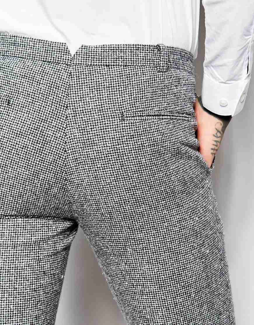 Heart & Dagger Wool Dogtooth Trousers With Turn Up In Super Skinny Fit in Black for Men