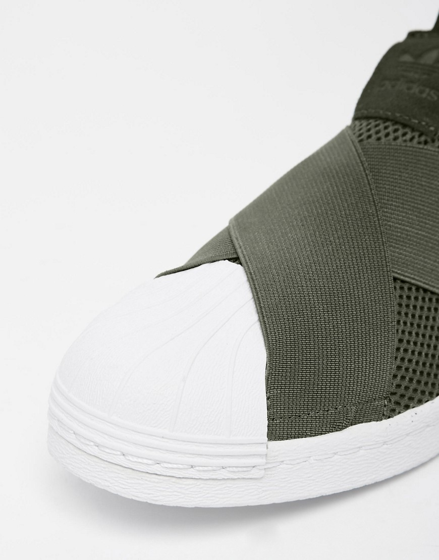 adidas superstar slip on khaki