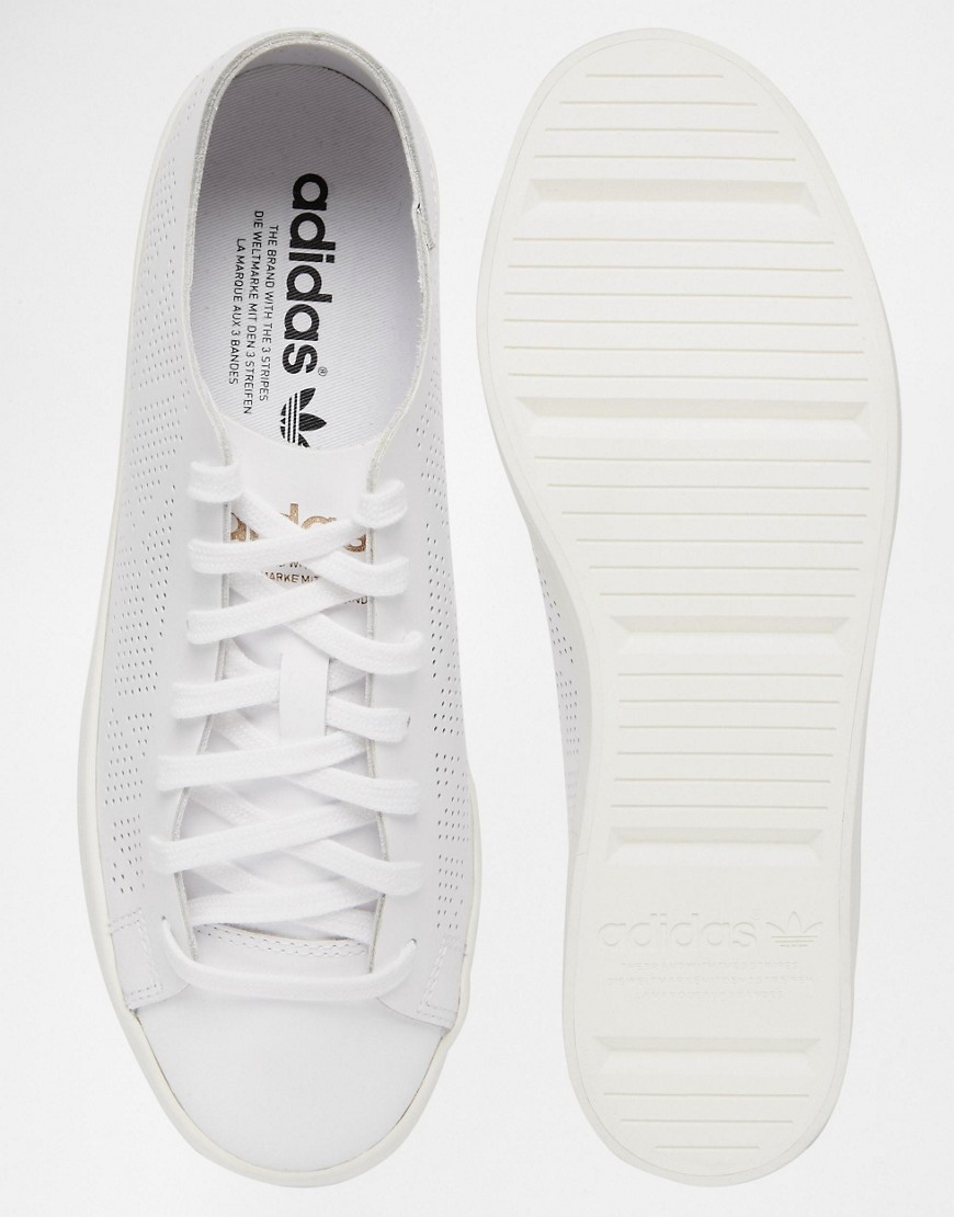 adidas Originals Leather Court Vantage Perforated Sneakers in White