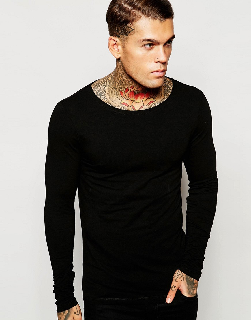 Asos Extreme Muscle Long Sleeve T Shirt With Boat Neck In