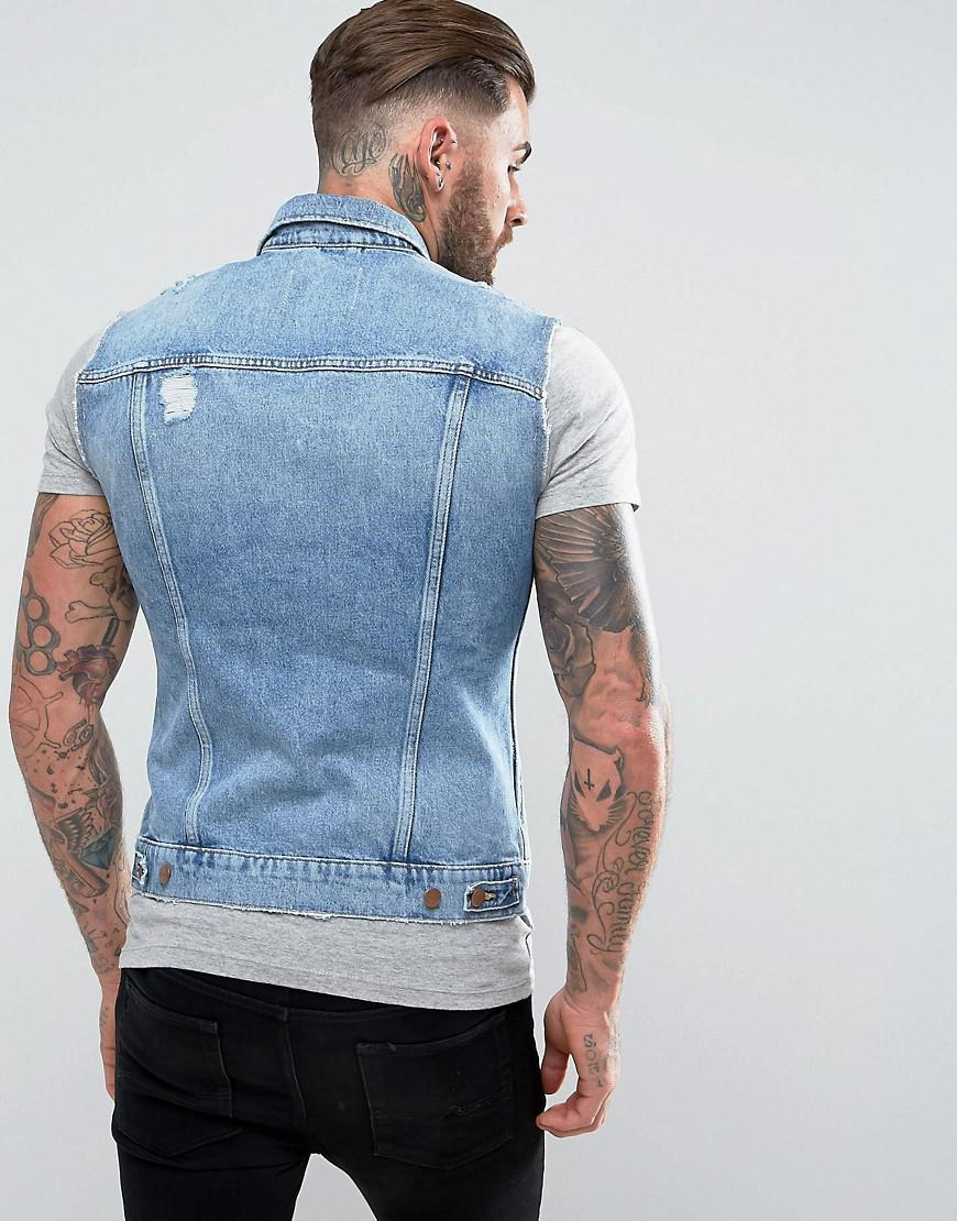 Wrangler Denim Vest Jacket Salted Ribs in Blue for Men