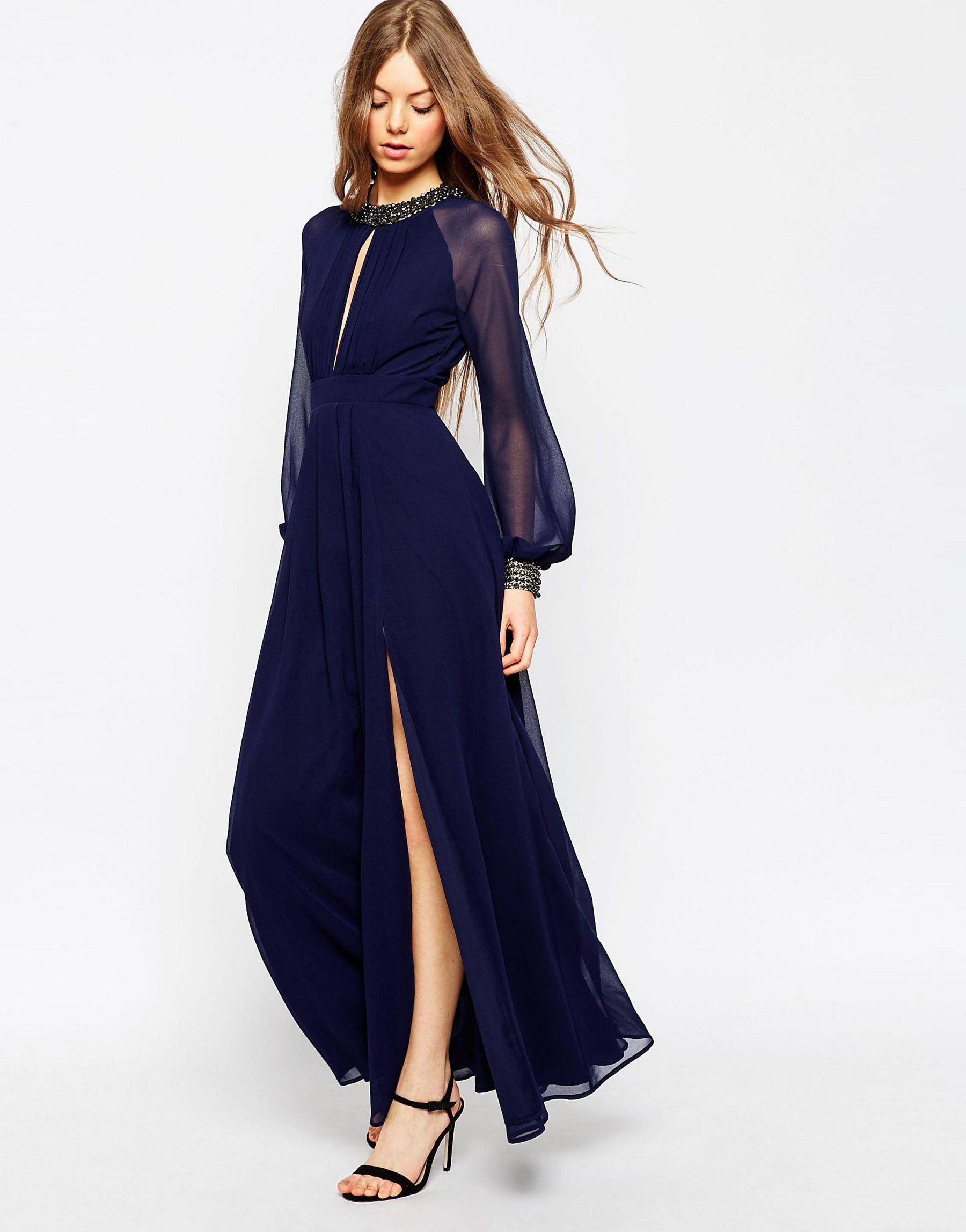 Asos Embellished Trim Long Sleeve Maxi Dress In Blue Lyst
