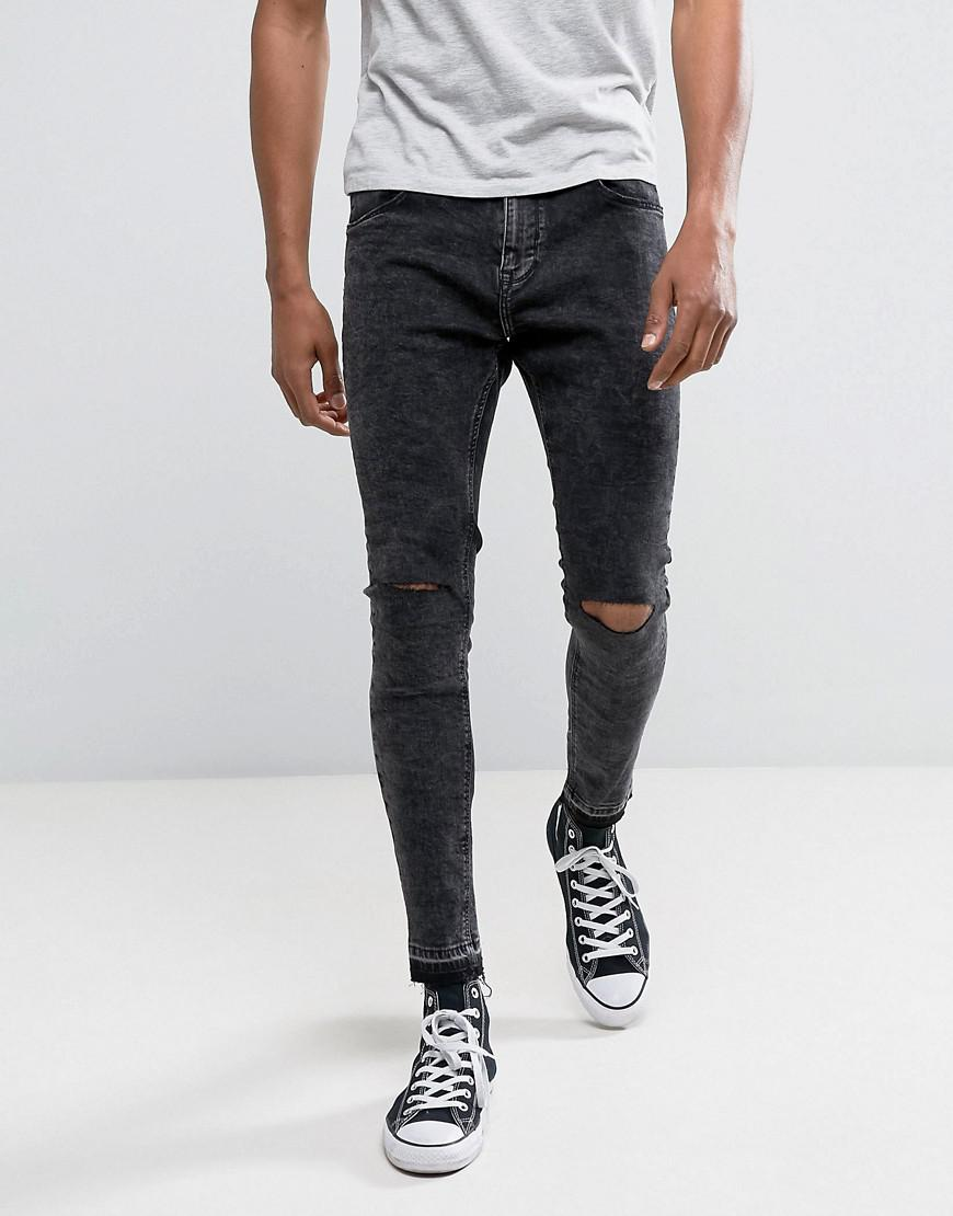 Skinny Tapered Jeans With Knee Rip In Washed Black - Black Bershka kQi5mTM