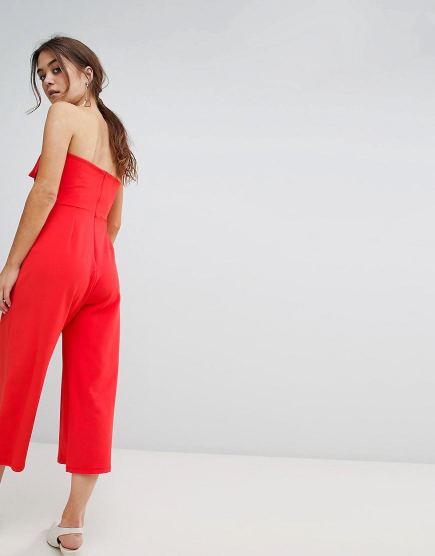 6fdfa98451a57 Lyst - Combinaison sans bretelles avec nud sur l avant New Look en coloris  Rouge
