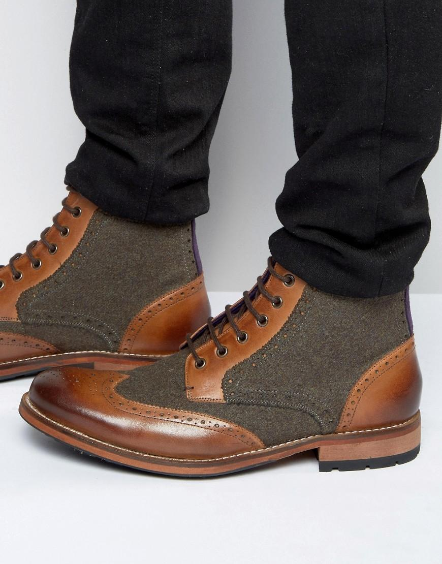 af636729c Lyst - Ted Baker Sealls Wool Mix Brogue Boots in Brown for Men