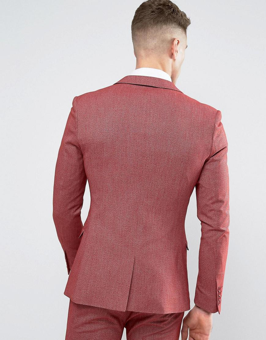 ASOS Synthetic Super Skinny Suit Jacket In Red Twist for Men