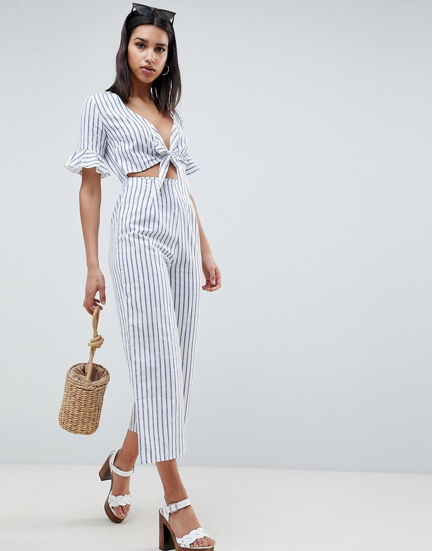 5711251165f ASOS Tea Jumpsuit With Cut Out And Tie Detail In Linen In Stripe in ...
