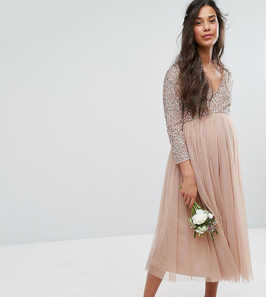 c0baecab8 Robe mi-longue manches 3/4 orne de motifs raffins en sequins et avec jupe  en tulle femme de coloris rose