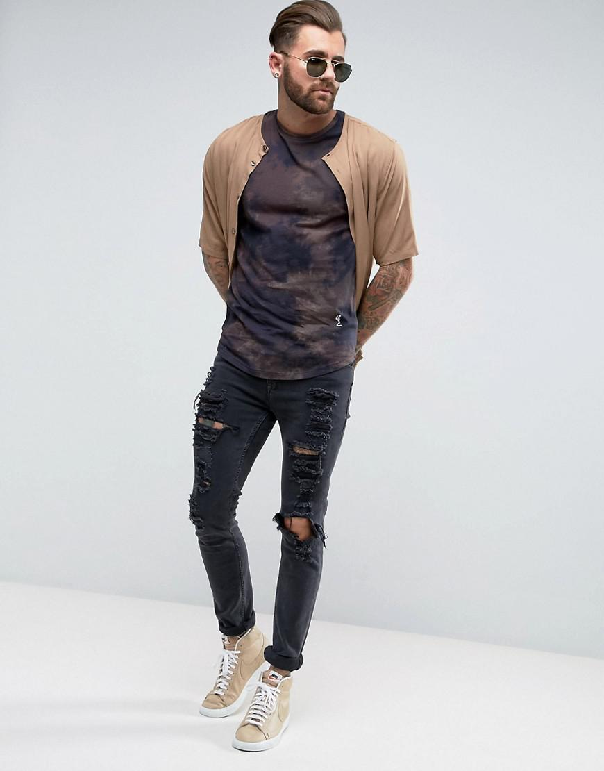 T-Shirt with All Over Tie Dye Print - Black Religion Free Shipping Finishline 2018 Newest Cheap Online Largest Supplier For Sale Qbi2A
