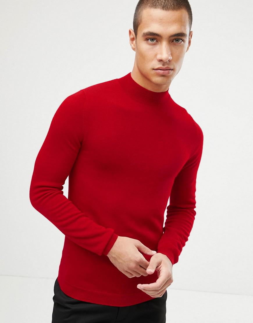 d883417e4b20 ASOS Muscle Fit Merino Wool Turtleneck Sweater In Red in Red for Men ...