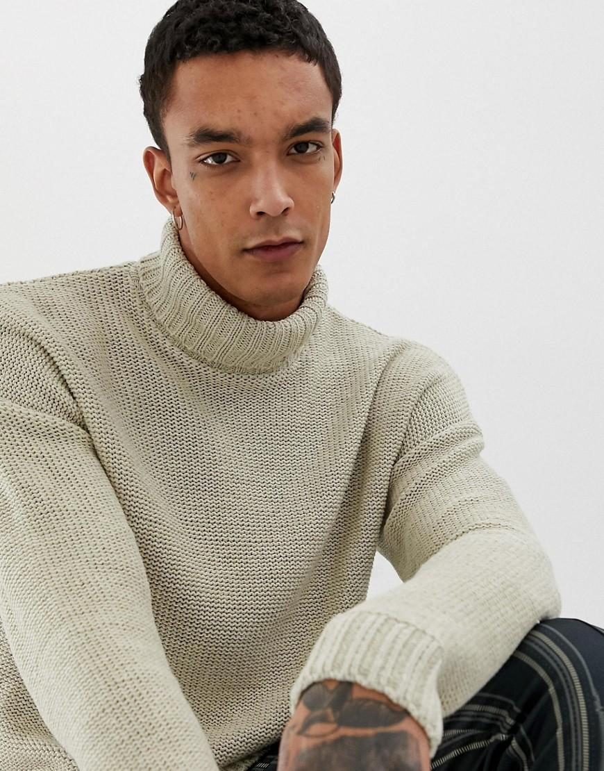 1ada5876e25 Men's Natural Knitted Oversized Roll Neck Sweater In Beige