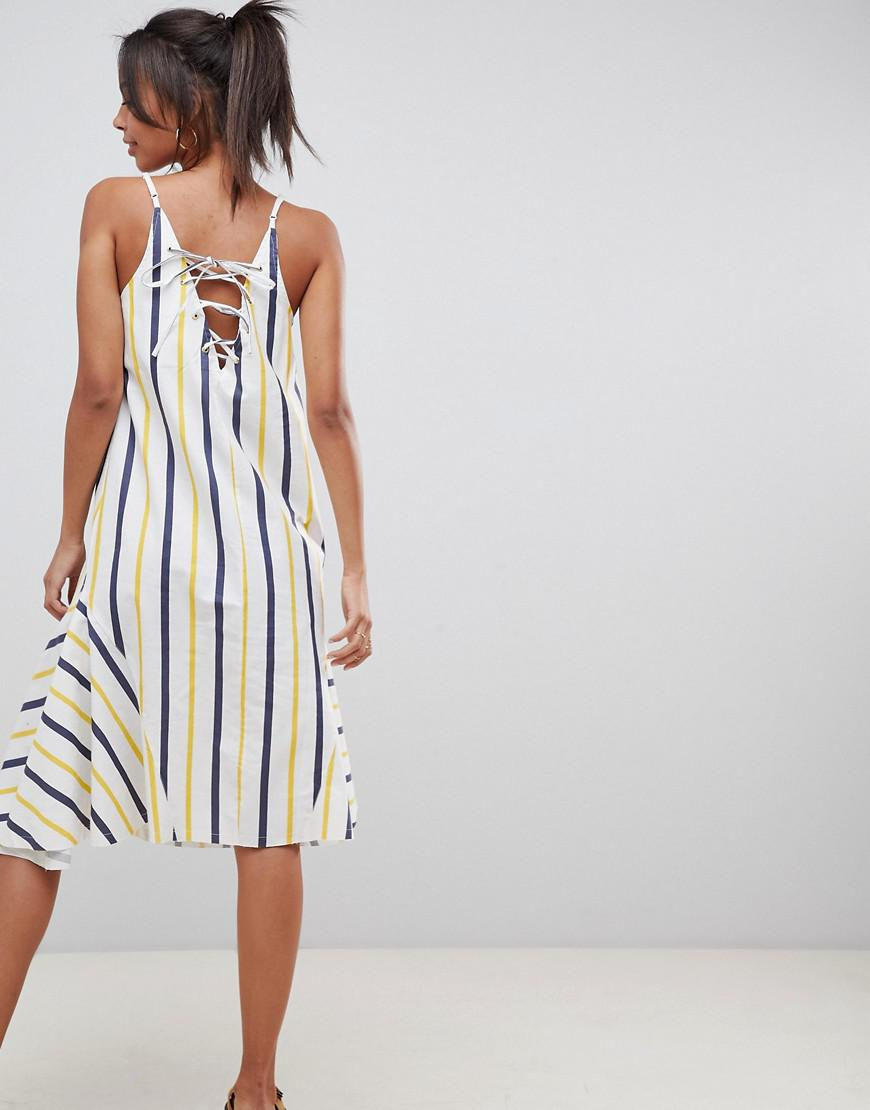 71d833e318c ASOS Asos Design Tall Stripe Swing Trapeze Midi Sundress With Lace Up Back  - Lyst