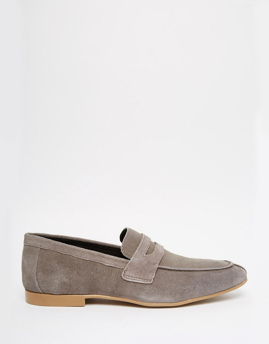 ASOS Penny Loafers In Grey Suede in Gray for Men - Lyst