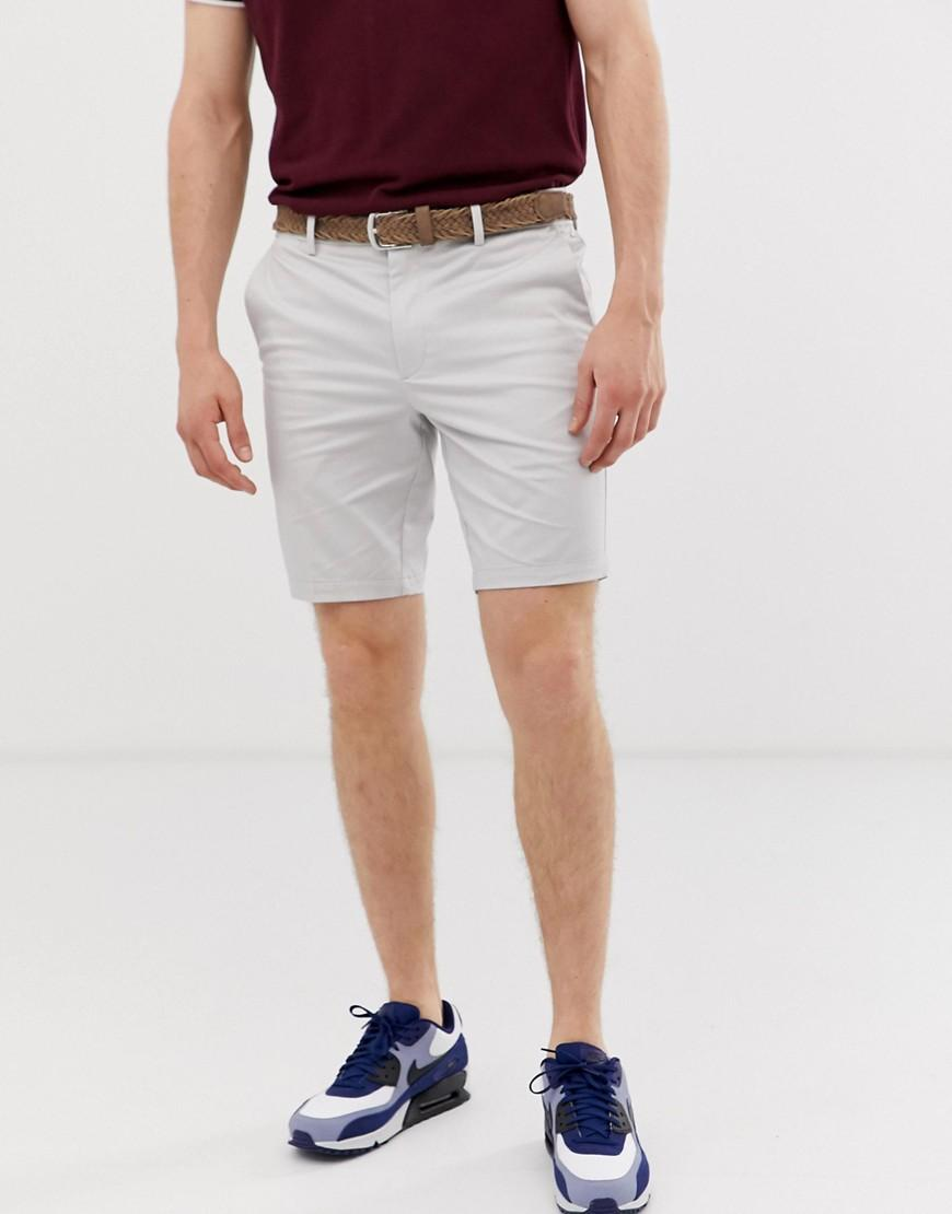 ab5454410a River Island Belted Chino Shorts In Stone in Gray for Men - Lyst