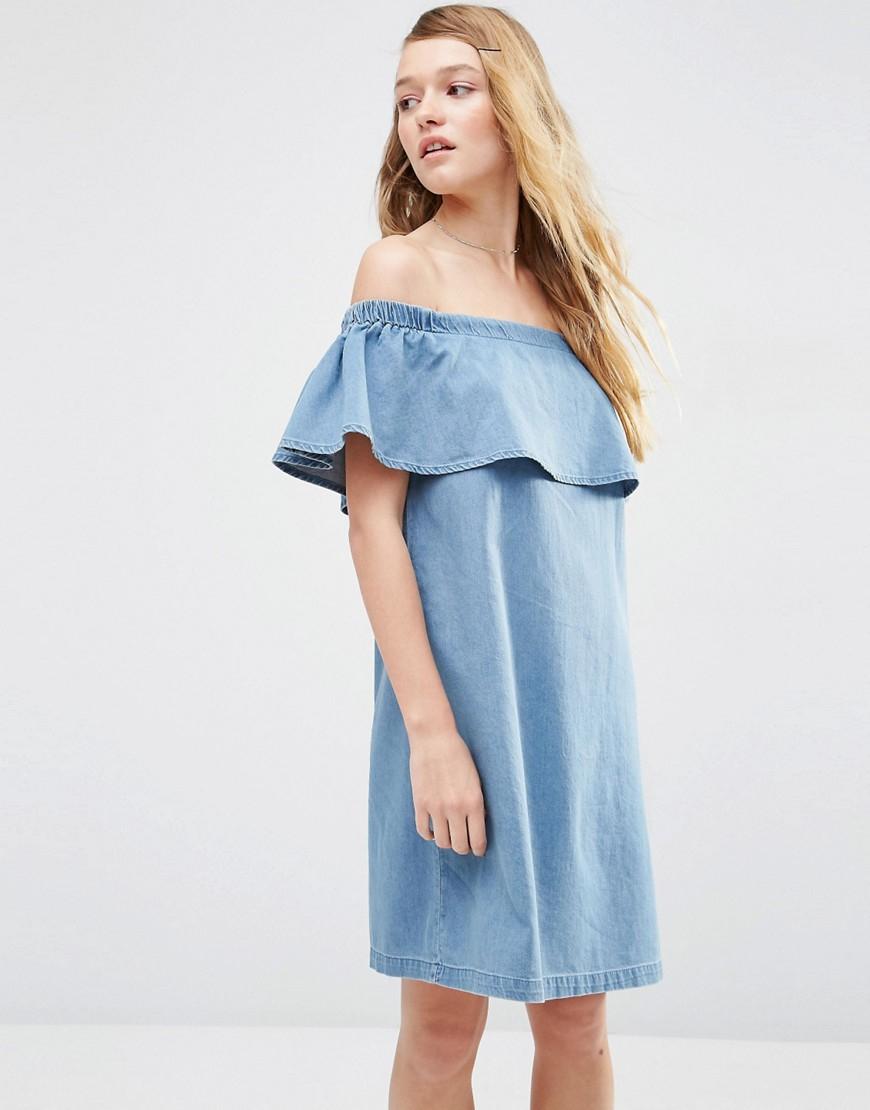 Asos Denim Bardot Off Shoulder Dress With Ruffle - Blue in Blue | Lyst