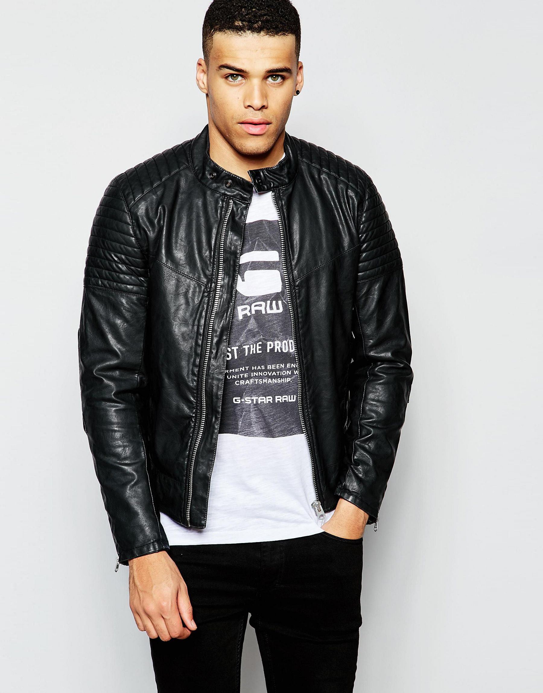 g star raw faux leather biker jacket attacc in black in. Black Bedroom Furniture Sets. Home Design Ideas
