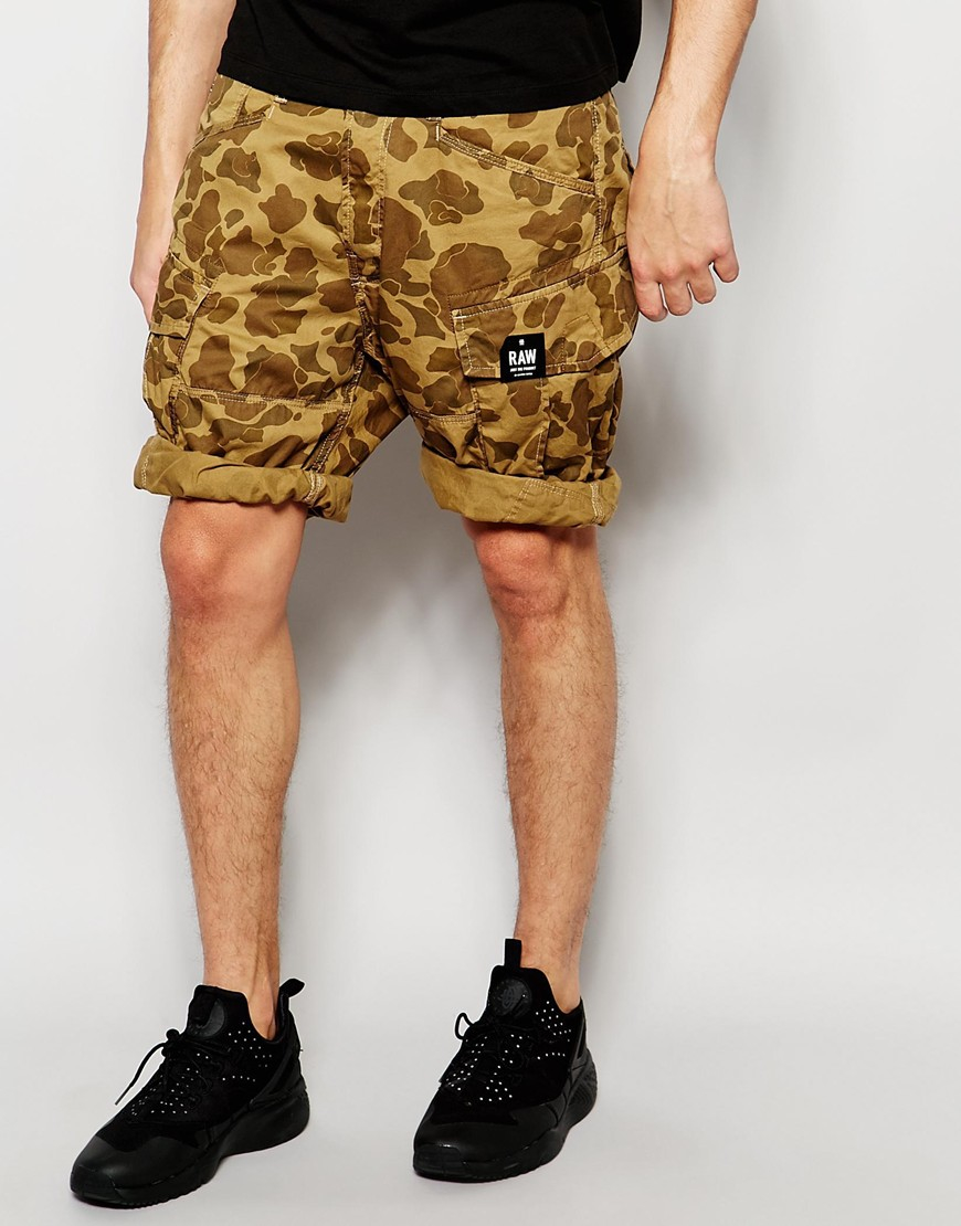 lyst g star raw cargo shorts rovic loose fit beige all. Black Bedroom Furniture Sets. Home Design Ideas