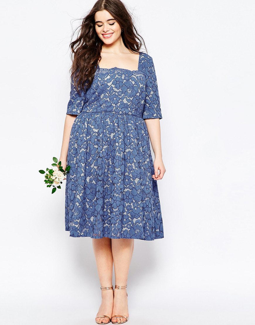 Lyst - Asos Wedding Prom Dress In Lace in Blue