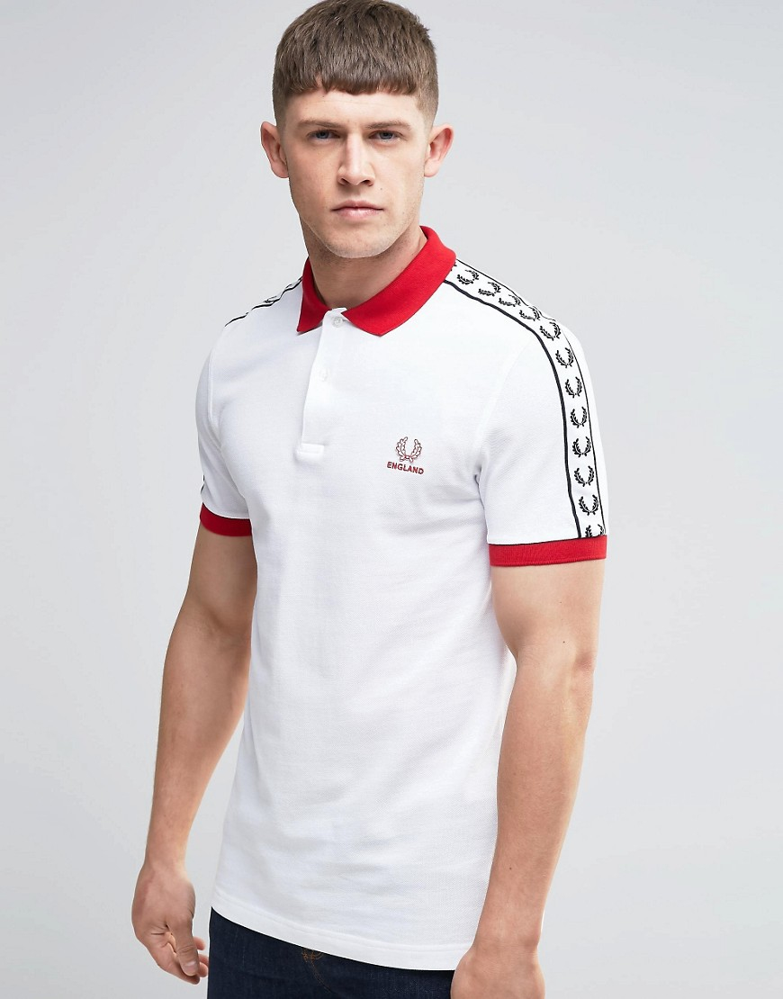 fred perry england polo shirt in white in white for men lyst. Black Bedroom Furniture Sets. Home Design Ideas