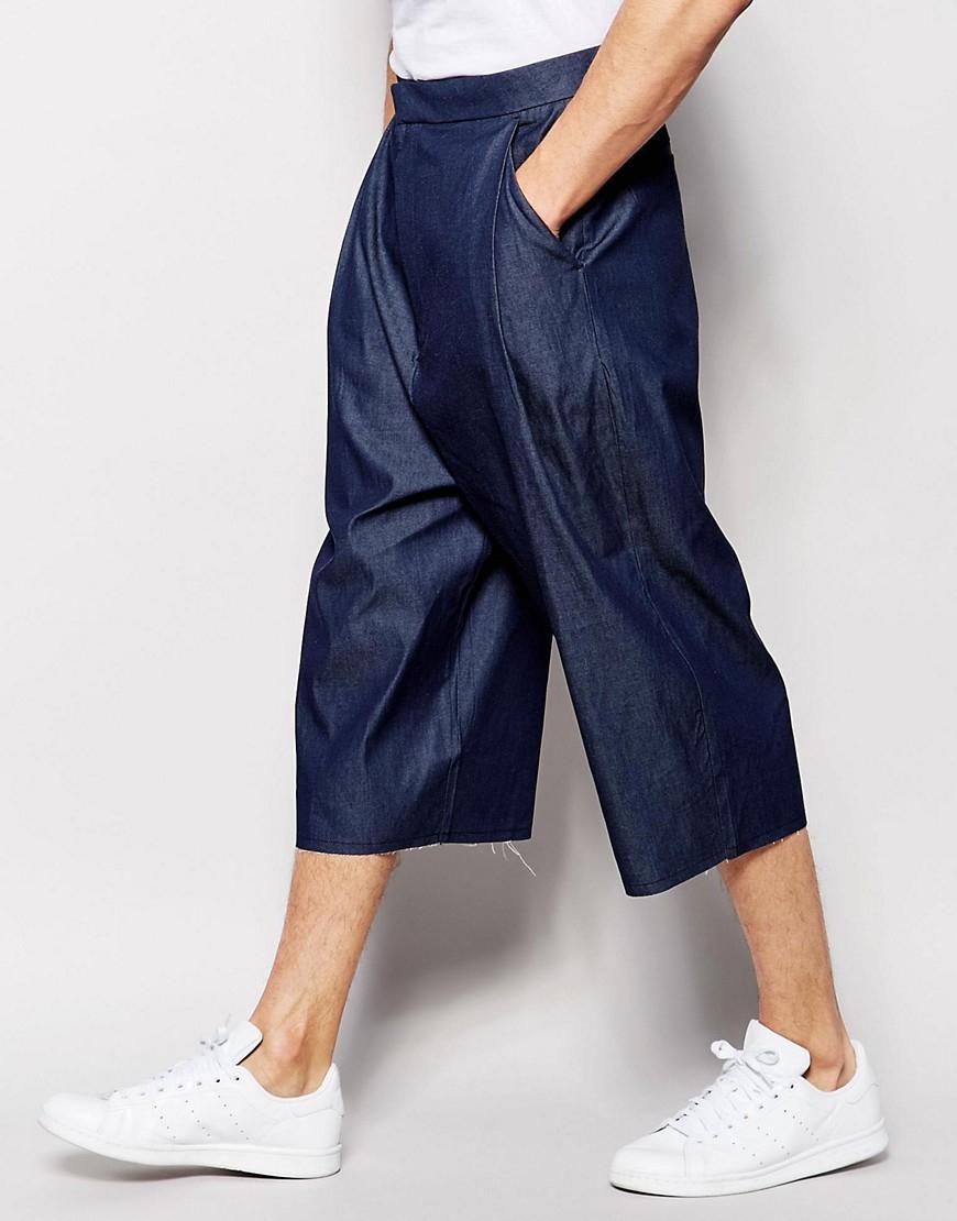 ASOS Wide Leg Smart Trousers In 3/4 Length Denim in Blue for Men