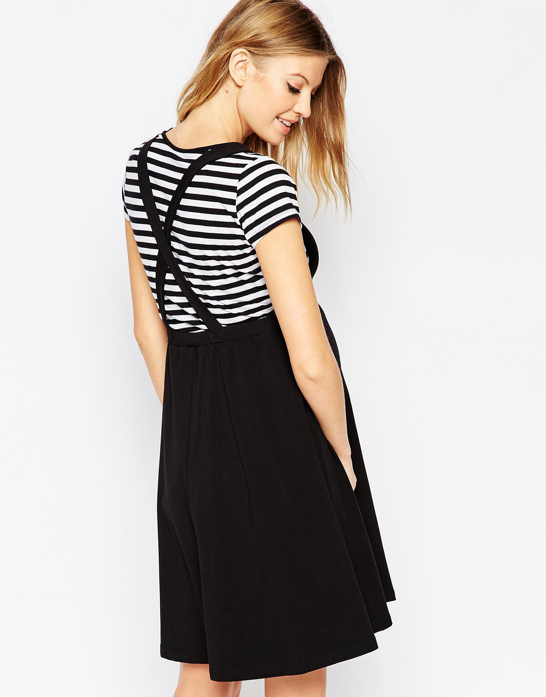 Lyst asos maternity pinafore dress in black gallery ombrellifo Choice Image