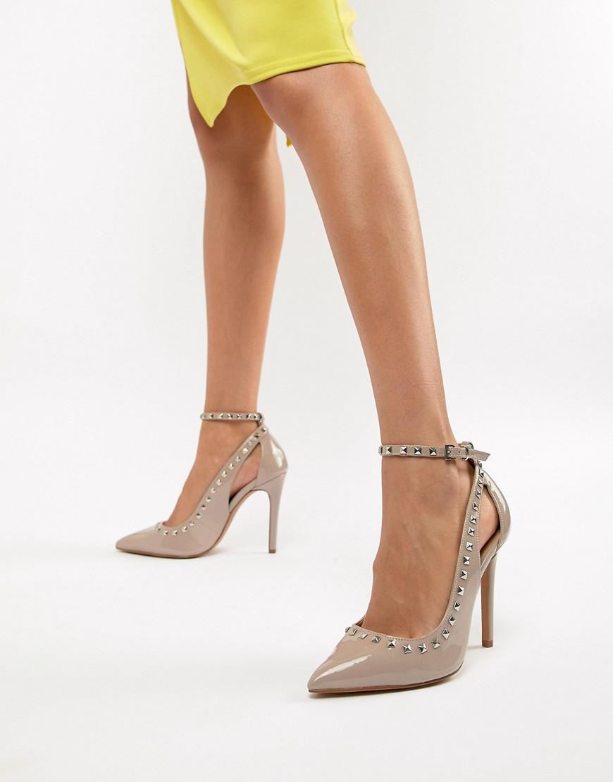 73fefc897752 Lyst - ASOS Persuade Studded Pointed High Heels in Natural
